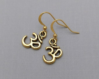 Om Earrings, Golden Om Charms, Mantra Charm, Yoga Jewelry, Spiritual Earrings