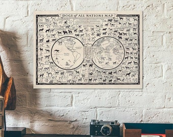 Vintage educational and pictorial old worldmap showing the Dogs of All Nations, covering all the known pure breeds of dogs - dog poster