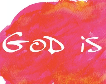 Inspirational Signs and Sayings, Love Wall Art For Bedroom, God Is Love, Scripture Sign Decor, Watercolor Orange Pink  Crafty Tribe 2017SA2H