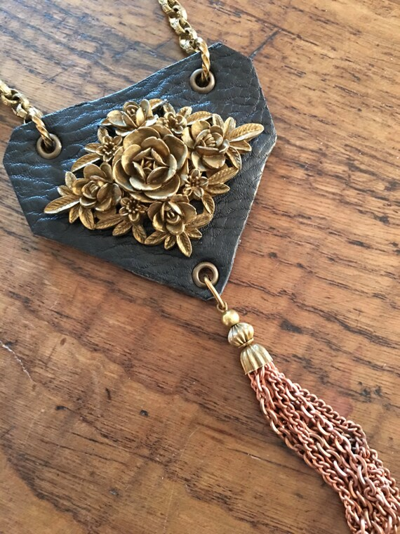 Roses & Leaves Leather Tassel Necklace
