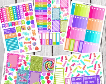Sweet As Candy Weekly Planner Sticker Kit For Erin Condren Life Planner Vertical