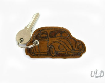 Volkswagen Beetle Keychain - Leather - Unique - VW Bug - Driver - Gifts - Handmade - Pyrography - Drawing - Unique - Lover - Design - Car