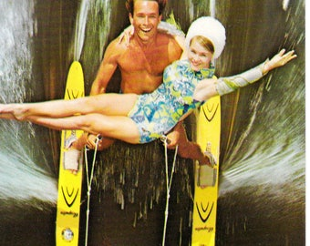 Vintage Water Skiing Couple Collectible Postcard Paper Ephemera Cypress Gardens Florida