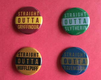 Straight Outta Hogwarts Harry Potter Inspired Pinback Buttons