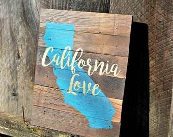 "Reclaimed Rustic Wood California Sign 10""x12"" // Dorm Decor // College Decor // State Love // California Love //"