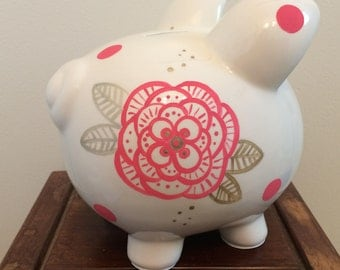 Personalized Hand Painted Piggy Bank - Pink and Gold Floral and Polka Dots