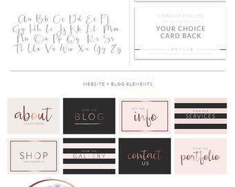 Pink Rose Gold Logo Set Branding Kit For Wedding Photography Small Business Event Planner