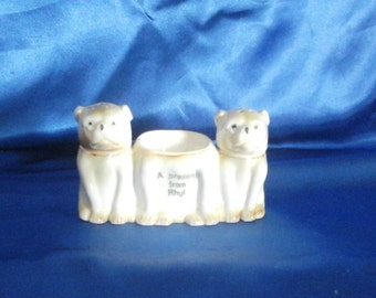 Victorian Bull Dog Egg Cup with Salt & Pepper Shakers