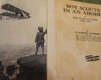 Antique Boy Scouts in an Airship or, The Warning From The Sky Book 1912 Vintage Novel Antiquarian