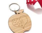 Apple key ring teacher gift apple key charm apple key chain apple for teacher gift