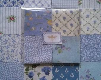 60  Laura Ashley Fabric Vintage 1970s/80s Patchwork Pieces ~Sapphire Blues~