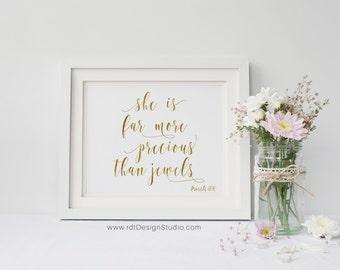 Bible Verse Print, A3, She is far more precious than jewels, Proverbs 31:10, Scripture Print, Nursery Wall Art, Kids Room Decor, D28B-2
