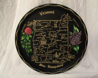 Vintage Vermont and New Hampshire State Tin Platter serving decorative tray
