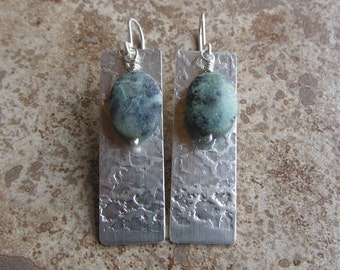 sterling silver textured rectangle, African Turquoise accent