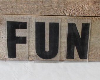 """Industrial FUN Sign Marquee Word Letters Black Plastic/Acrylic 5""""  -  Home Decor - Kids Playroom"""