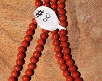 """16"""" Strand of 3mm Smooth Round Red Jasper Bedas #8"""