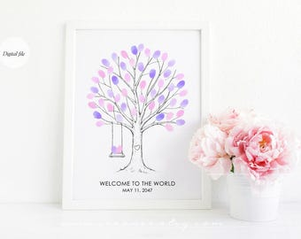 Fingerprint tree with swing guestbook alternative, Thumbprint tree poster, Family tree, birthday, wedding, bridal shower, baby shower gift