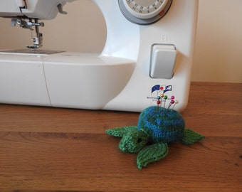 Sea Turtle Pin Cushion Critter, Desk Toy, #OOAK, Hand knitted