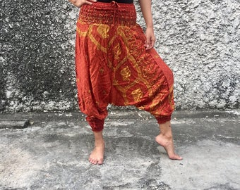 Brown Harem Genie pants Drop Crotch style elephant Print fabric Hippie Gypsy fashion Drop crutch for Free people Plus Size women Festival