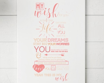 My Wish Lyrics Custom Print