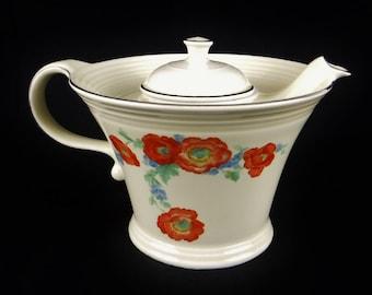 Hall Teapot Orange Poppy Melody/Ceramic Teapot/Art Deco Teapot/Hall Pottery/Hall Kitchenware/1940's/Vintage
