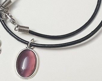Black Leather Choker Necklace, Purple Jewelry, Purple Necklace Choker, Pendant Necklace Choker, Australian Made, Gift for Her, Oval Pendant