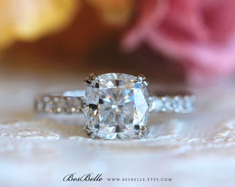 2.70 ct.tw Solitaire Engagement Ring-Cushion Cut Diamond Simulant-Bridal Ring-Wedding Ring-Promise Ring-Sterling Silver [9113-1]