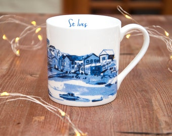 St Ives Cornwall Seaside Town Bone China Mug