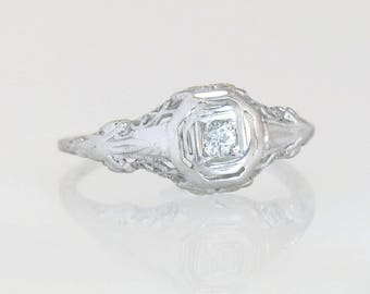Antique 14K White Gold .05ct Genuine Diamond Filigree Art Deco Engagement Ring