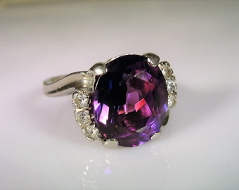 10K White Gold Ring, Alexandrite Ring, Alexandrite & Spinel Ring, Lab Created Alexandrite, White Spinel Accents, Vintage Ring – Size 7