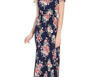 Plus Size ~ Navy Floral Short Sleeve Maxi Dress with Side Pockets