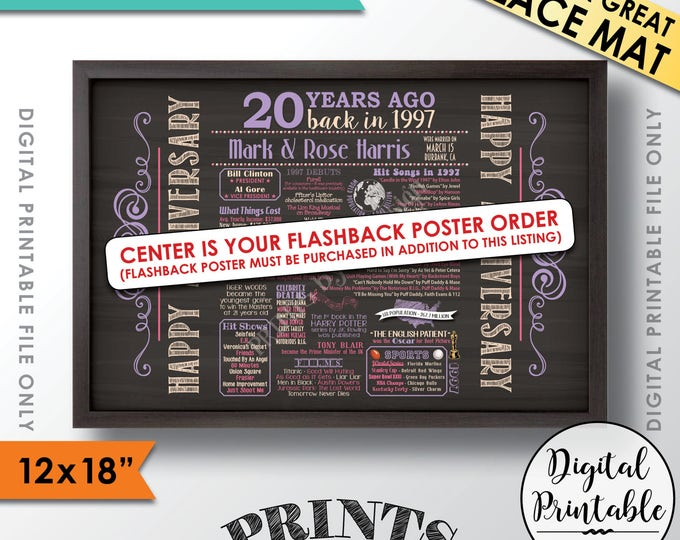 """Anniversary Placemats, Anniversary Place Mat, Flashback Anniversary Party Decor, 12x18"""" Chalkboard Style Printable Flashback Placemat ADD-ON"""