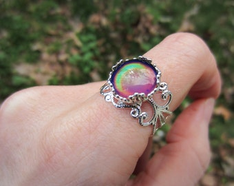 Mood Ring, Mood Jewelry, Color Changing Ring, Adjustable Ring, Silver Plated Filigree , 12mm Mood Cabochon