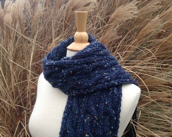 Chunky Knit Scarf - Navy Blue - Cabled - Reversible - Tweed