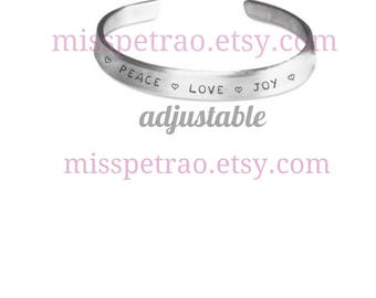 Stamped Bracelet PEACE LOVE JOY with hearts or custom text, includes shipping