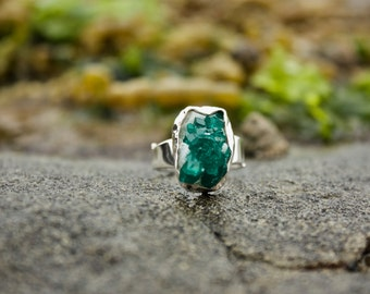 Genuine One of a Kind Dioptase Ring with Beaten Silver + Adjustable Band