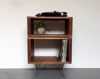 Vinyl Record Storage Stand Stacked Sideboard Console on  Hairpin Legs, 60cm wide