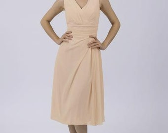 Champagne Classic Short Bridesmaid / Prom Dress by Matchimony with straps