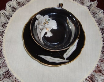 Occupied Japan Princess China - Hand Decorated Vintage Tea Cup and Saucer - Black with White Lily