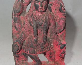 Stone Hindu Goddess Kali with Offering Traces from Nepal, Hindu Folk Traditional Art, Durga Deity, Nepali Sculpture, FREE SHIPPING