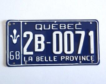 Vintage 1968 Quebec License Plate - Retro Canadian Blue Automobile Plate - Industrial Decor - Cars Collectibles