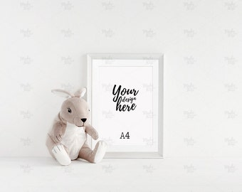 A4 portrait nursery white frame mockup / Styled stock photography / Instant download / #6140