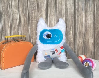 Hug Monster with horns, turquoise and grey with monster on skateboard pocket friendly monster for boy,unique  birthday gift,ready to go