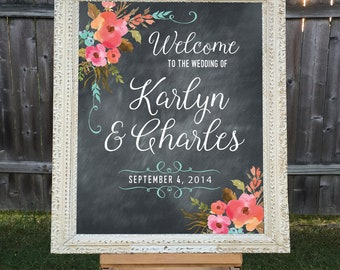 Printable Wedding Welcome, Personalized Wedding Sign, Names and Date, Chalkboard Wedding Sign