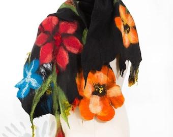 Shawl / Silk scarf/ Nuno felting shawl/ Nunofelt Scarf  / Handmade  / Wool Scarf / Nuno felt /  Eco/ Free shipping.