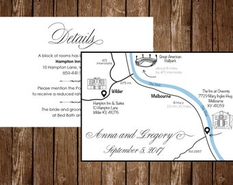 Wedding Map, Custom Design, Personalized Wedding Intinerary, Wedding Invitation, Direction Card, Any Location, Custom Map, S024