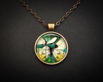 Green Dragonfly Necklace - Green Jewelry Dragonflies Necklace - Dragon Fly Jewelry Necklace - Dragonfly Green Necklace Dragonfly Pendant