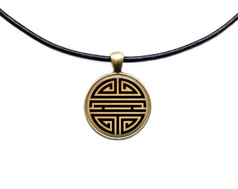 Antique jewelry Chinese necklace Good luck symbol pendant