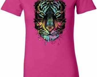 Ladies Dripping Neon Tiger Longer Length Tee T-Shirt 19951NBT2-6004