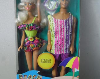 Mattel Beach Fun Barbie and Ken Dolls